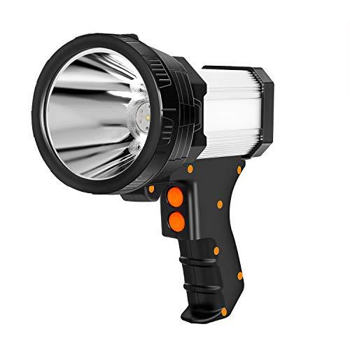 Sanlinkee Rechargeable Spotlight,LED Spotlight Flashlight Super Bright 6000 Lumens Handheld Spotlight 9600mAh Long Lasting Large Flashlight Searchlight Outdoor Waterproof Flood Camping Flashlight