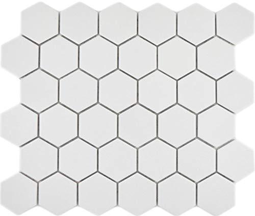 Mosaico de cerámica hexagonal de color blanco R10B antideslizante, para pared, suelo, cocina, ducha o baño