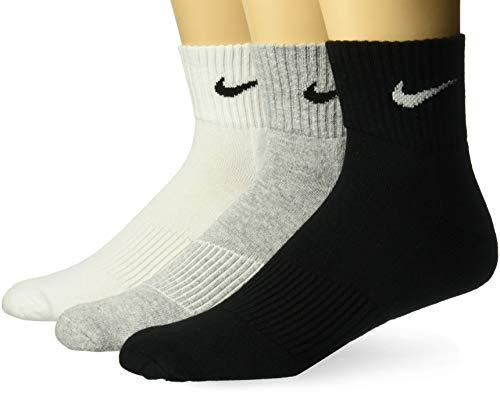 Nike 3PPK Cushion Quarter, Calcetines unisex, paquete de 3 unidades, Gris / Negro / Blanco, M (38-42)