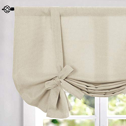 Tie Up Valances for Kitchen Windows Vintage Linen Look Room Darkening Tie up Valance Curtains Rod Pocket Adjustable Tie Up Shades for Windows 1 Panel Greyish Beige 45 Inch