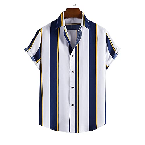 BIBOKAOKE Herren Hemden Kurzarm Leinenoptik Freizeithemden Hawaii Mehrfarbig Vertikale Streifen Bedrucktes Hemd Loose Casual Sommer ArbeitsHemd Urlaub Atmungsaktiv Strandhemd Sport Tshirt
