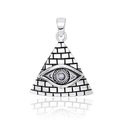 WithLoveSilver Plata de Ley 925 Pyramid Ancient Egipcio Ojo de Horus Colgante de símbolo de protección