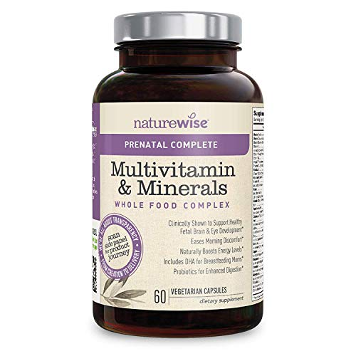 NatureWise Prenatal Whole Food Multivitamin for Women | Folate, Vegetarian DHA, Non-Constipating Iron, Plant-Based Calcium, Lutemax Lutein, Probiotics, Vitamin D3, Gluten Free | 60 count