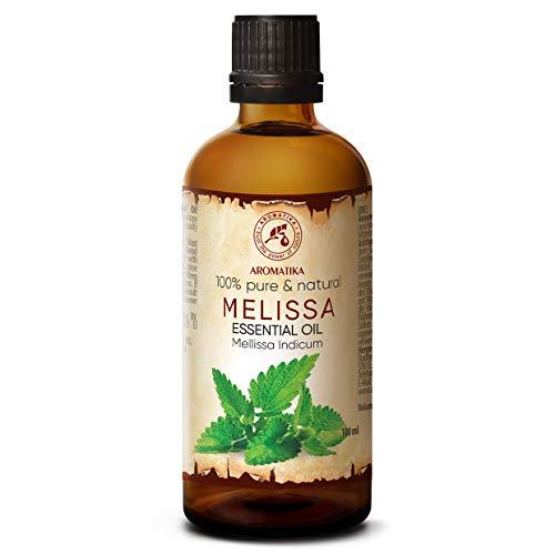 Zitronenmelissenöl 100ml - Mellissa Indicum - Indien 100{f5c98b04f9fb7acf37dcfa8dbc088b4de4534bbc4d7ec5d21f489a88052b2d23} Naturreines Ätherisches Zitronenmelisse Öl für Guten Schlaf - Rumduft - Aromatherapie - Entspannung - Aroma Diffuser - Duftlampe - Melissa Oil