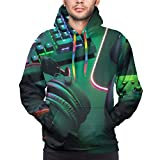 Sudadera con Capucha para Hombre Gamer Work Space Concept, Top View A Gaming Gear, Mouse, Keyboard, Joystick, Headset, Mobile Sweatshirt 3XL