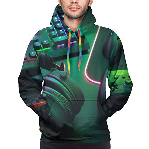 Sudadera con Capucha para Hombre Gamer Work Space Concept, Top View A Gaming Gear, Mouse, Keyboard, Joystick, Headset, Mobile Sweatshirt L