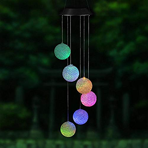 QUUY Windspiel Licht,LED Solar Farbwechsel Windspiel Gartenlampe Outdoor Dekorative Romantik für...