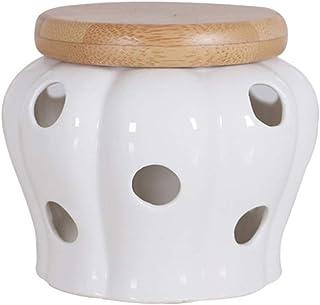 BESTONZON Pots à épices Organisateur d'épices Rangement d'épices en céramique ronde avec couvercles en bambou pour sceller...