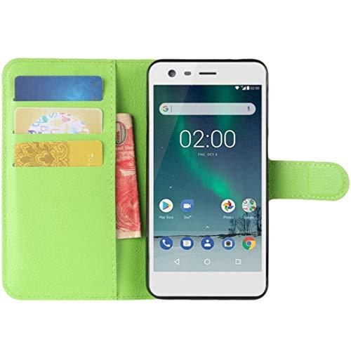 HualuBro Microsoft Lumia 532 Hülle, Premium PU Leder Leather Wallet HandyHülle Tasche Schutzhülle Flip Hülle Cover für Microsoft Lumia 532 Smartphone (Grün)