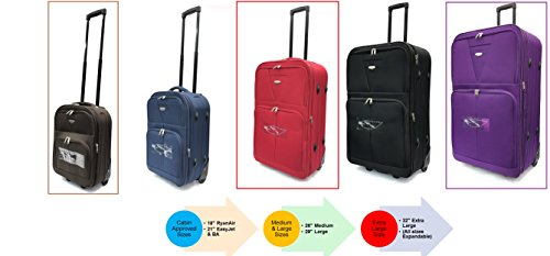 Super Lightweight Expandable Durable Hold Luggage Suitcases Travel Bags 4 Wheels in Extra Large, Large, Medium (32' Extra Large, Navy)