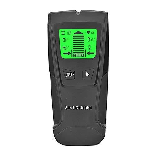 Detector de Pared Detectar Escáner de Pared Encontrar 3 en 1 Pantalla LCD para Detecta CA Cable Escaneo de Pernos Metales Cables de CA Stud Finder Buscador de Metal (Negro)