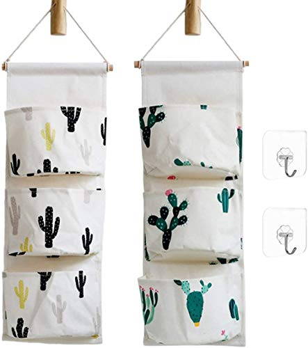 Ricye Cactus Wall Door Closet Hanging Storage Bag Cotton Fabric 3 Pockets Over The Door Organizer Pouch, 2 Pack (Cactus)
