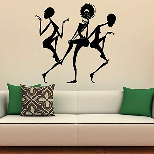 Calcomanías de pared de niña de danza africana hermosa mujer africana arte mural pegatinas de vinilo dormitorio de moda salón de belleza decoración de interiores