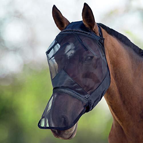 Harrison Howard CareMaster Fliegenmaske UV-Schutz ohne Ohren mit Nasenschutz Schwarz Warmblut (L)