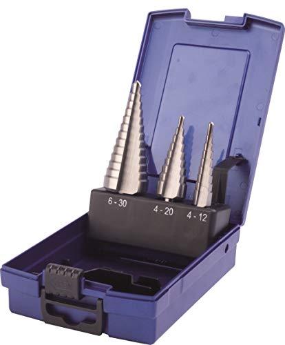 PTG Ratioline HSS Stufenbohrer-Set 3 teilig (Bohrer in Größe 4-30 mm, in Kunststoffkassette, blank, für Stahlblech, Kunststoff usw.) 350067003