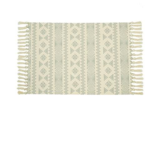 CiCiwind Alfombra de algodón de la Sala Impreso geométrica Alfombra con borlas de algodón Tejido de alfombras para el Dormitorio Máquina Lavable Puerta de Entrada Alfombras de Bohemia Mats 60x90cm
