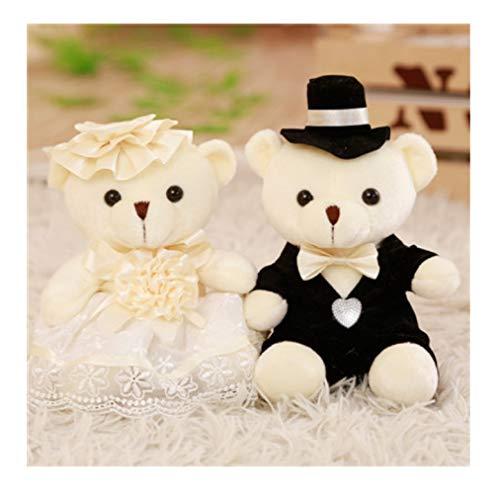WMYWBYT Schönes Tier Brautkleid Paar Bär Plüschtier, Zeug Puppe Hochzeitsgeschenk 1 Paar 25Cm 25Cm 01