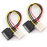 TOTOT 2pcs SATA 15Pin Male to IDE Molex 4Pin Female HDD Extension Power Adapter Cable for Serial ATA Hard Drives and CD ROM Drives 20cm