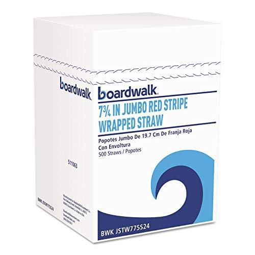 Jumbo Straws, 7 3/4, Plastic, Red w/White Stripe, 500/Pack, 24 Pack/Carton by Boardwalk