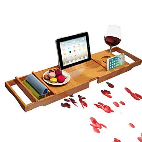 XHLLX Bandeja de baño Caddy Rack Bandeja con Copa de Vino/para iPad/Soporte para teléfono Inteligente, Libro a Prueba de Agua