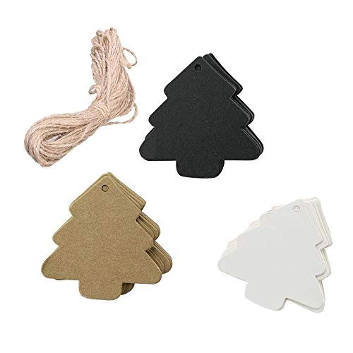 BinaryABC Christmas Tree Gift Tags,Paper Tags,Price Tags with String,DIY Kraft Blank Hang tag 150pcs