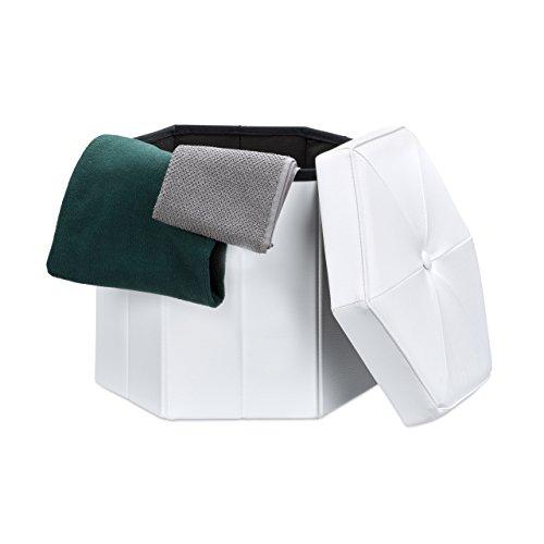 Relaxdays Faltbarer Sitzhocker sechseckig mit Stauraum und Deckel zum Abnehmen HBT: 38 x 42 x 42 cm Sitzwürfel aus Kunstleder Hocker zum Falten und Verstauen Sitzbank und Sitzgelegenheit, weiß