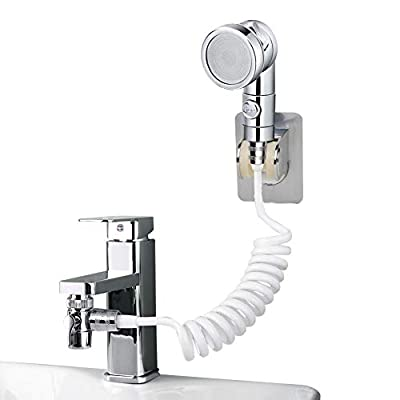 UHAPEER Basin Handheld Shower Set, Bathroom Faucet Hand Held Shower Head External Sink Hose Sprayer Rinser Kit, for Hair Washing Pet Shower Bathroom Utility Room Cleaning, with Universal Adapters