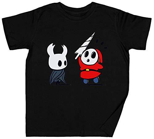 Hollow Shy Guy Negro Niños Chicos Chicas Camiseta Tamaño L Black Kid's Boys Girls T-Shirt tee Unisex Size L