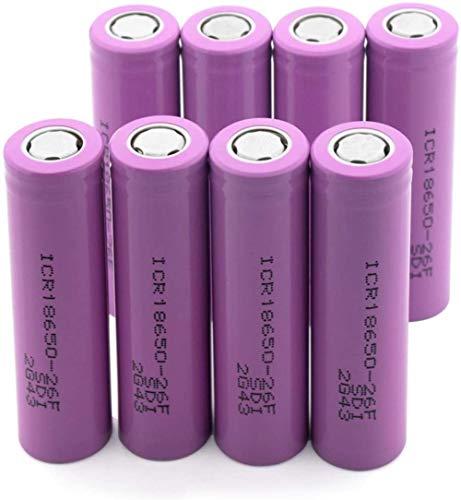 18650-26F 3.7V 2600Mah Batería Recargable DeLitio Flat Top PCB Protegido 10Pieces-8Pieces