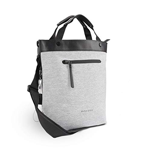 Sherpani Geo, Anti Theft Crossbody Bag, Travel Tote Bag, Medium Shoulder Bag for Women Fits 10 Inch Tablet, RFID Protection (Sterling)