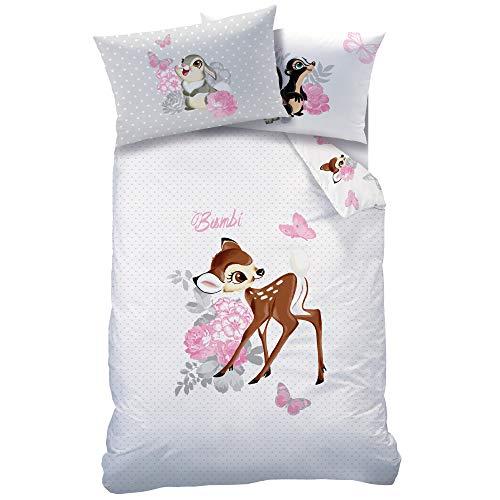 Arle-Living - Juego de ropa de cama para bebé (3 piezas, reversible, 100 x 135 cm + 40 x 60 cm + 1 sábana bajera de 60 x 120 - 70 x 140 cm), diseño de Bambi con lunares, color blanco