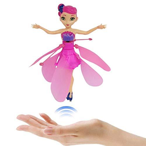 XIUNPR-6 Flying Fairy Doll para niñas, Juguete mágico de duendecillo Volador con Luces para niños, Control de inducción, Vuelo, Carga USB, Ballet, niña, Vuelo, 19,5 cm (Rosa)