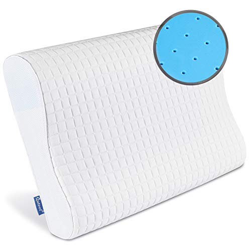Qutool Contour Memory Foam Pillow,Cervical Bed Pillow for Sleeping,Neck Pain,Orthopedic Pillow for Back Side Stomach Sleepers,Neck Support with Washable Breathable Cover-King Size.