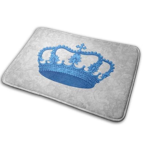Tapis De Tapis De Bain Antidérapant (15,7 X 23,5 Pouces), Tapis Extra Doux Et Absorbants, Chambre De Salle De Douche Et Tapis De Cuisine,Bleu Vintage Crown Silver Grey