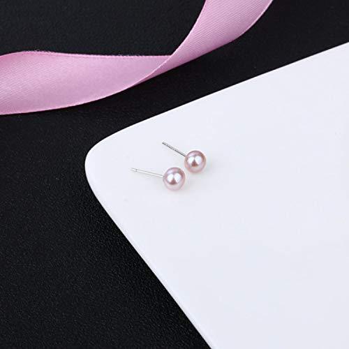 N/A 925 Pendientes de Perlas Rosa melocotón de Plata esterlina Blanco Púrpura Pendientes de Perlas de Agua Dulce Naturales Reales para Mujeres niñas 8-9 mm Púrpura