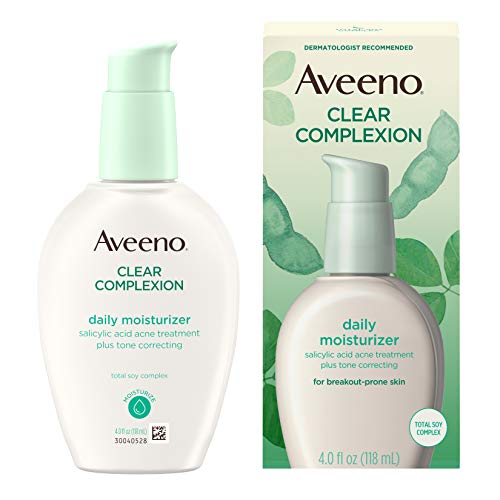 over the counter facial moisturizers Aveeno Clear Complexion Salicylic Acid Acne-Fighting Daily Face Moisturizer with Total Soy Complex, For Breakout-Prone Skin, Oil-Free and Hypoallergenic, 4 fl. oz