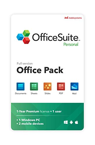 OfficeSuite Personal Compatible with Microsoft® Office Word® Excel® & PowerPoint® and Adobe® PDF - 1 user annual license for 1 Windows & 2 mobile devices