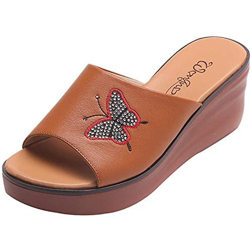 Kirin-1 Zapatillas De Casa para Mujer Verano,Zapatillas con Sandalias De Mediana Edad De Cuero De CuñA De Fondo Grueso-36_Camello