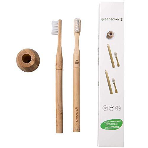 Bambus Zahnbürste mit Wechselkopf Austausch Mittel Hart Box Set Familie Pack vegan Aktivkohle nachhaltig - greenanker - nachhaltige Borsten Kohle