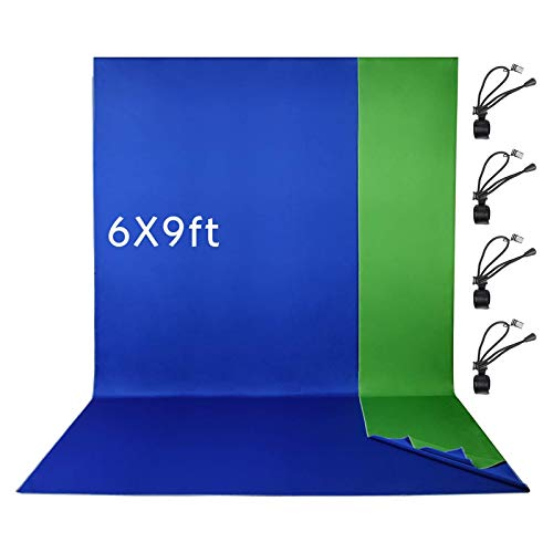 Emart 6 x 9 ft Photography Backdrop Background, Chromakey Green/Blue 2-in-1Polyester-Cotton Background Screen for Photo Video Studio, 4 x Backdrop Clip