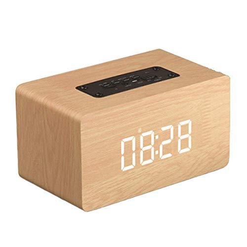 GaoF Altavoz Bluetooth de Madera, Reloj multifunción Reloj Despertador Sonido Tres formatos Principales de reproducción Altavoces