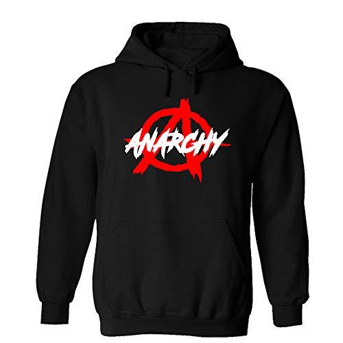 Druckstelle PMS Anarchy Logo Schrift Hoodie Sweatshirt Pullover Schwarz (L)