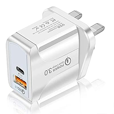 SONZON Fast Quick Charger USB Plug Type C PD Travel Wall Charger Power Adapter with Quick Charge 3.0 Mains Wall Charger(White)