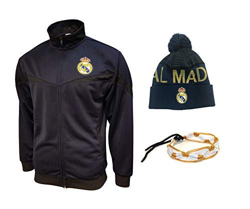 Real Madrid Jacket and Beanie hat Mens New Season Colors Navy Black Navy Men Soccer Official Licensed Winter 2019-20 RM1 (M, Set 1 Black 3 PCS)