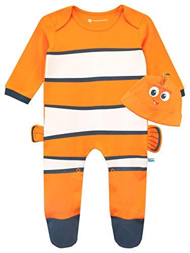 Disney Baby Jungen Findet Nemo Schlafstrampler und Mütze Gesetzt Orange 86