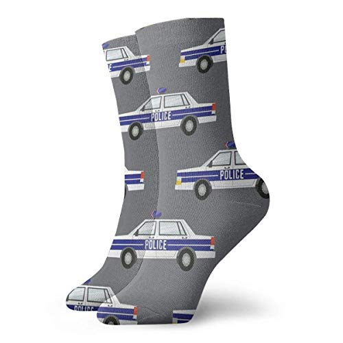 QUEMIN Calcetines transpirables de la tripulación del coche de la policía calcetines exóticos modernos para mujeres y hombres calcetines deportivos deportivos estampados de 30 cm