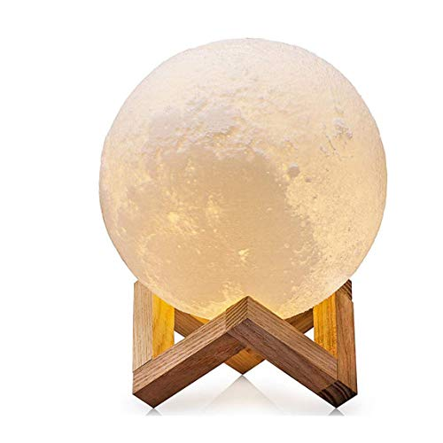 Preisvergleich Produktbild Binwwe LED Mond Lampe mit Fernbedienung Farbige Dekoleuchte 3D Mond Kunst LED 3D-gedruckte Mondlicht tragbares Nachtlicht, Touch-Steuerung, Helligkeit dimmbar & per USB (18cm)