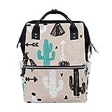 Backpack Cactus Black White Green Arrow Large Capacity Diaper Bag Travel Daypack