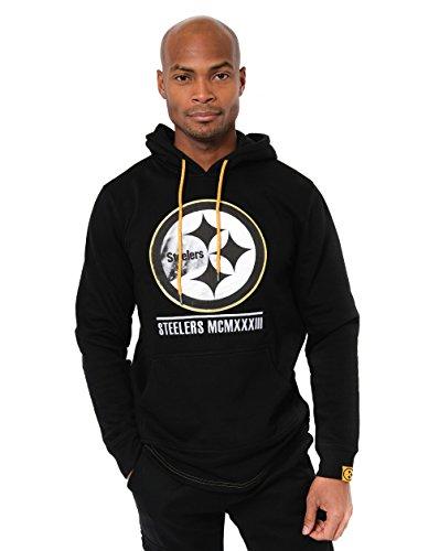 Icer Brands NFL Herren Fleece-Pullover Hoodie Sweatshirt Gesticktes Team-Logo, Pittsburgh Steelers L/S Pullover Applique Hoodie, schwarz