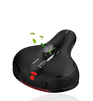 MSDADA Oversized Comfort Bike Seat-Padded Soft Bike Cushion Memory Foam Bike Saddle with Dual Shock Absorbing Rubber Balls Waterproof Universal Fit for Indoor/Outdoor Bikes with Waterproof Cover